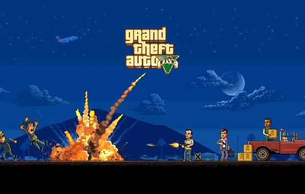 Картинка Игра, Полиция, Взрыв, Арт, Пиксели, 8bit, Майкл, GTA, 16bit, GTA 5, Тревор, Франклин, Grand theft …
