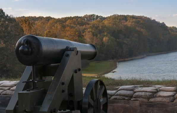 Картинка пейзаж, пушка, старинное