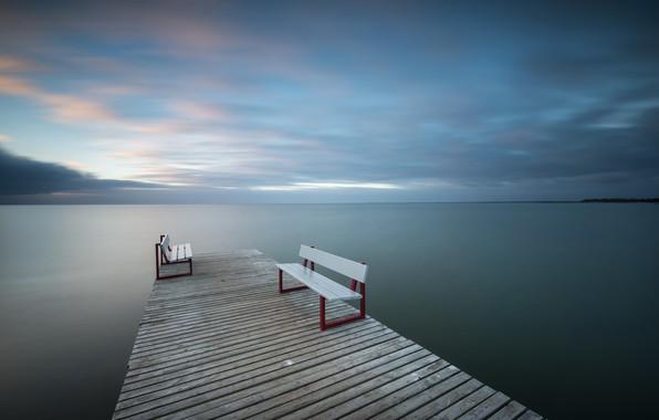 Картинка море, мост, скамья