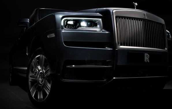 Картинка фара, Rolls-Royce, вид спереди, 2018, Cullinan