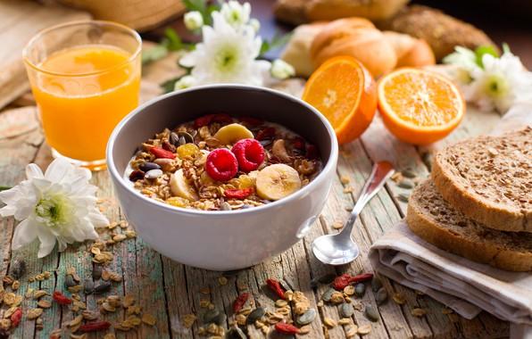Картинка ягоды, завтрак, сок, банан, wood, мюсли, йогурт, апельсиновый