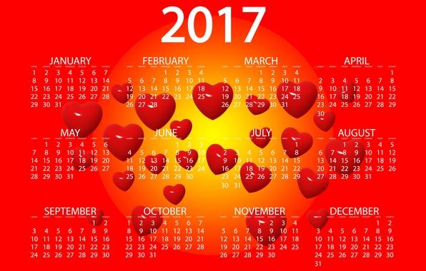 Фото обои желтый, красный, дизайн, фон, графика, новый год, вектор, сердца, цифры, сердечки, ярко, календарь, год, дата, ...