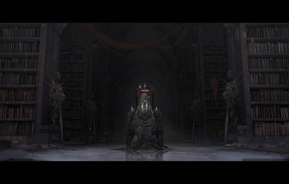 Картинка девушка, оружие, книги, меч, свечи, аниме, арт, воины, вуаль, трон, нимб, скелеты, novelance