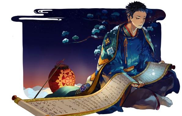Картинка ночь, узор, фонарь, белый фон, парень, японская одежда, накидка, свиток, haikyuu!!, волейбол!!, sawamura daichi