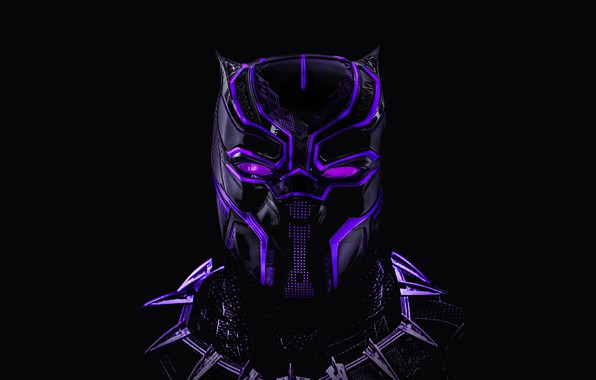 Картинка маска, черный фон, Neon, комикс, MARVEL, Black Panther, Чёрная Пантера