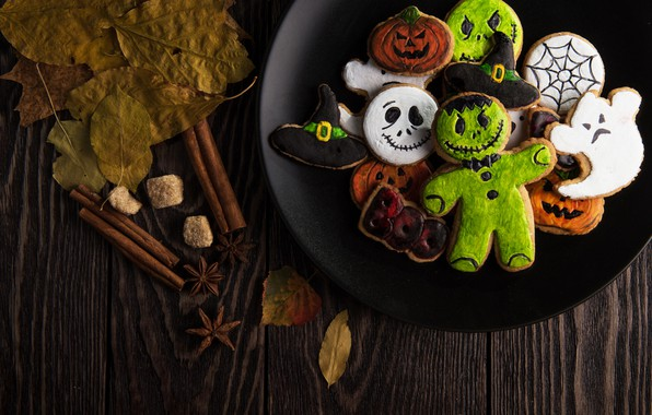 Картинка Halloween, ghost, monster, hat, wood, food, leaves, sweets, pumpkin, biscuit, wooden table