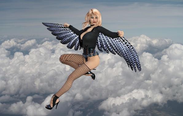 Картинка девушка, облака, ангел