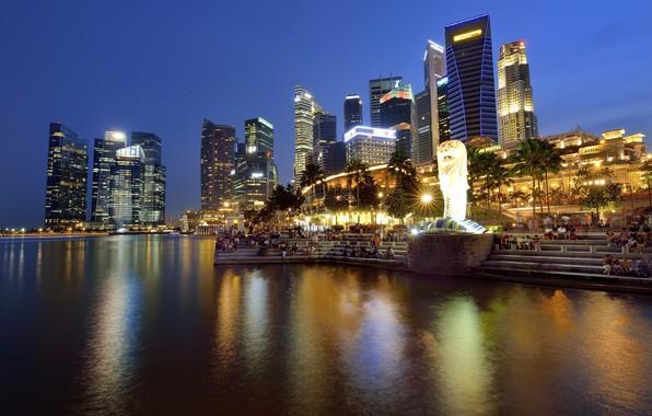 Картинка Город, Сингапур, Пейзаж, Ночной город, Ночные огни