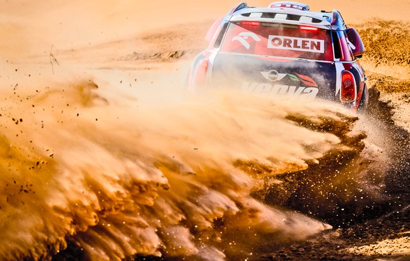 Фото обои Песок, Mini, Пыль, Спорт, Пустыня, Скорость, Поворот, Гонка, Занос, Жара, Rally, Ралли, Дюна, Raid, MINI ...