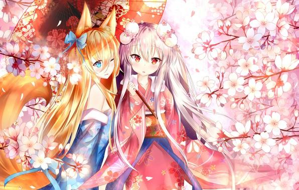 Картинка цветы, девочки, зонт, аниме, Girls Frontline