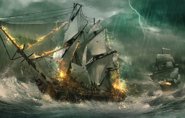 Картинка море, волны, шторм, молния, корабли, парусники, фрегаты, морской бой, Julian Calle