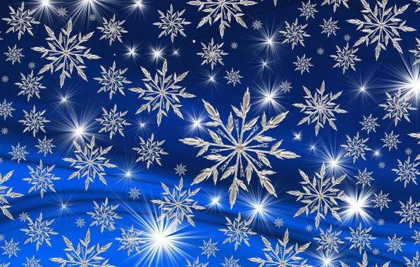 Картинка синий, Фон, снежинки.