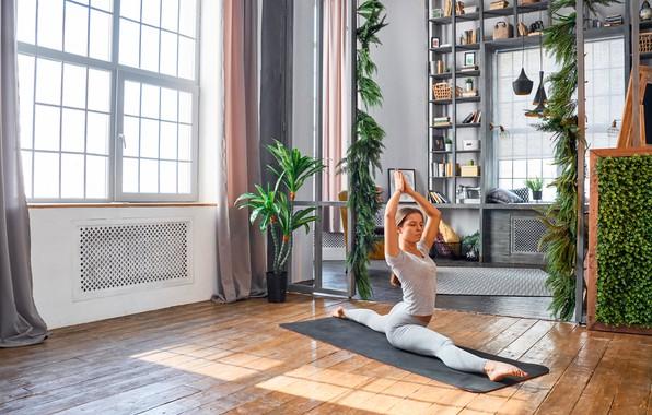 Картинка девушка, поза, комната, окна, растения, майка, фигура, прическа, йога, коврик, шатенка, фитнес, шпагат, на полу, …