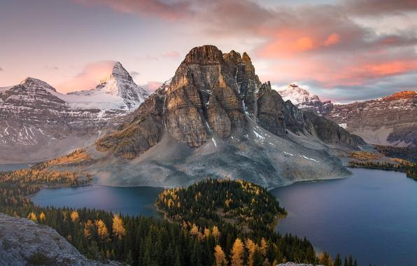 Картинка осень, лес, горы, гора, озера, Канада