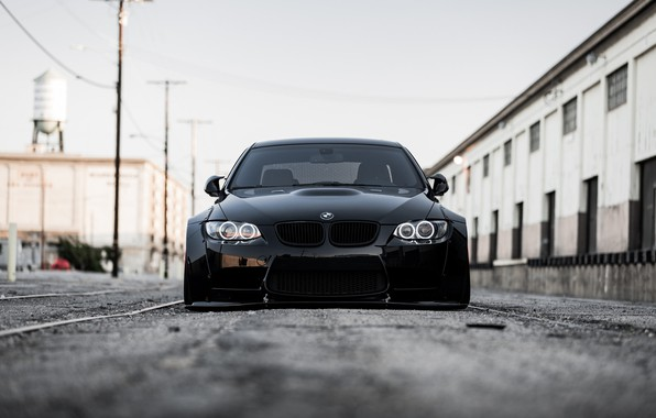 Картинка BMW, Front, Black, E92, Face, Sight