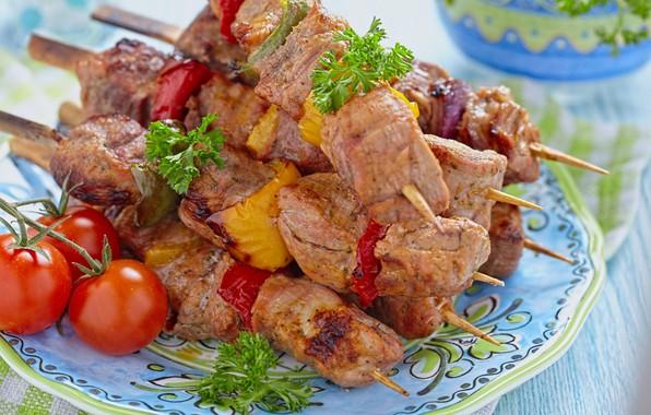 Фото обои мясо, помидор, петрушка, шашлык