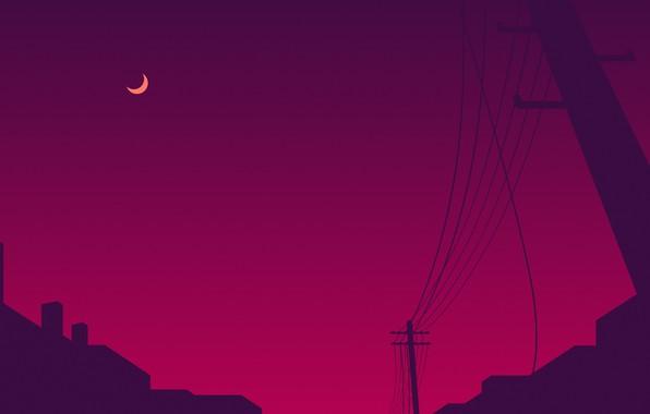 Картинка фиолетовый, ночь, город, сиреневый, розовый, луна, столбы, провода, столб, moon, night, town