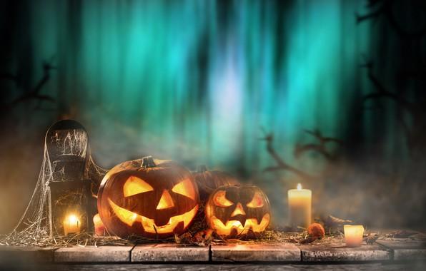 Картинка праздник, свечи, тыквы, Хэллоуин