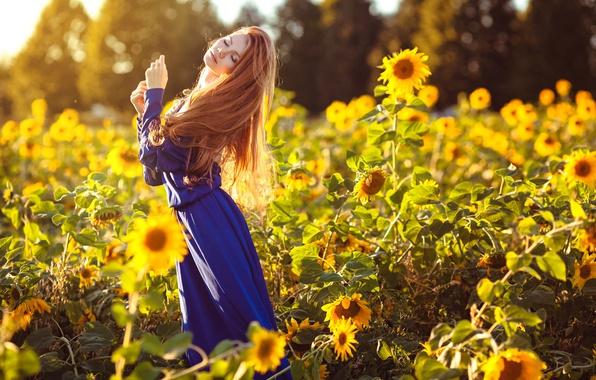 Картинка лето, девушка, подсолнухи, платье, Лазарева Мария