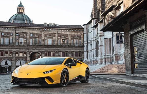 Картинка city, Lamborghini, yellow, Huracan, Huracan Performante, Lamborghini Huracan Performante