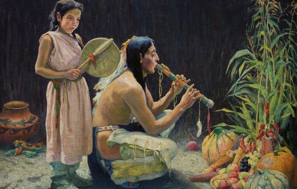 Картинка музыкальные инструменты, фрукты и овощи, Eanger Irving Couse, The Harvest Song, (c.1920)