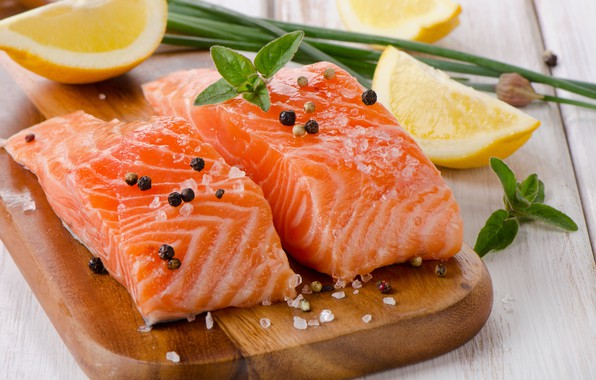 Картинка лимон, рыба, специи, лосось