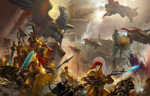 Картинка city, chaos, space marine, battle, Warhammer 40 000, statue, grifon, Black Legion, Adeptus Custodes