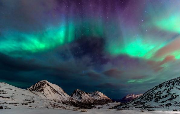 Картинка зима, небо, горы, ночь, северное сияние, север
