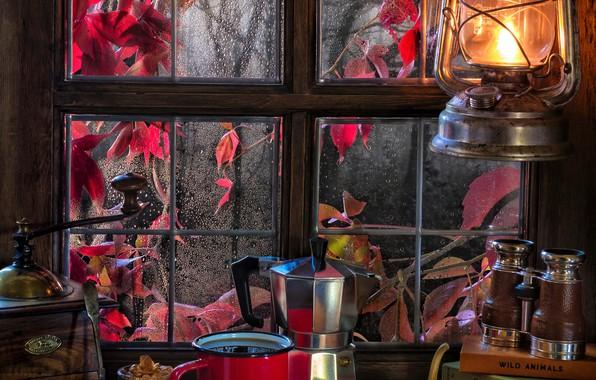 Картинка осень, стиль, дождь, книги, кофе, печенье, окно, кружка, фонарь, бинокль, тыква, натюрморт, кофемолка