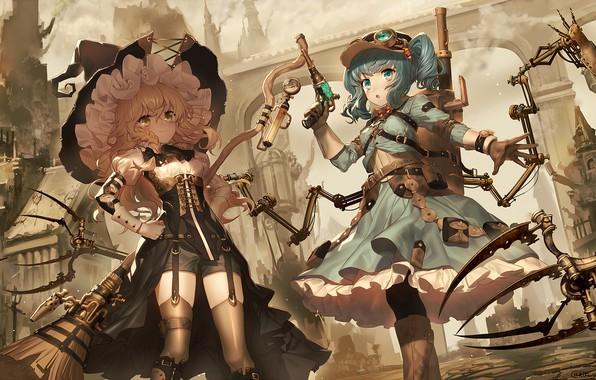 Картинка оружие, девушки, аниме, арт, Тохо, Тоухоу