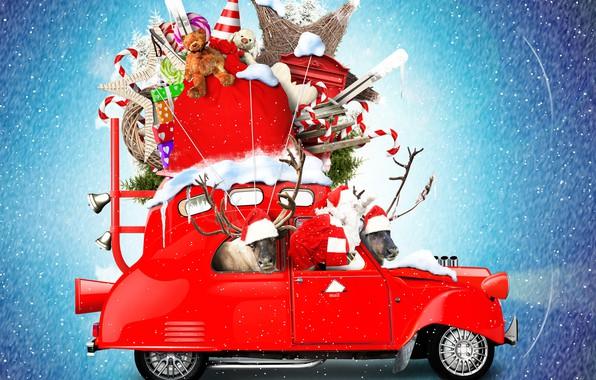Картинка снег, снежинки, красный, креатив, фон, праздник, игрушки, фотошоп, Рождество, подарки, Новый год, леденцы, автомобиль, олени, …