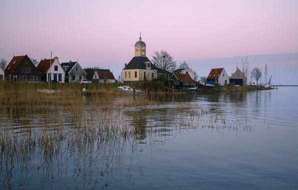 Картинка река, берег, дома, лодки, церковь, Нидерланды, Durgerdam