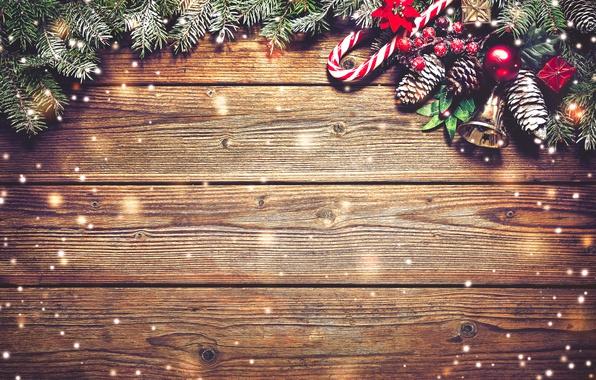 Картинка украшения, ветки, доски, Новый Год, Рождество, christmas, balls, шишки, wood, snow, merry christmas, decoration, xmas, …
