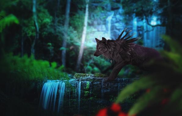 Картинка лес, природа, волк, фэнтези, by Fiirewolf