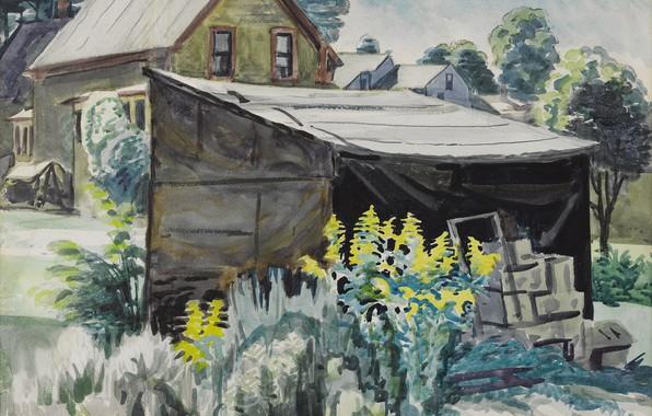 Картинка 1923, Charles Ephraim Burchfield, Goldenrod and Shed