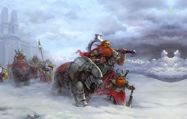 Картинка фентези, игра, арт, поход, войско, Heroes of Might and Magic V (game poster2), Roman Guro