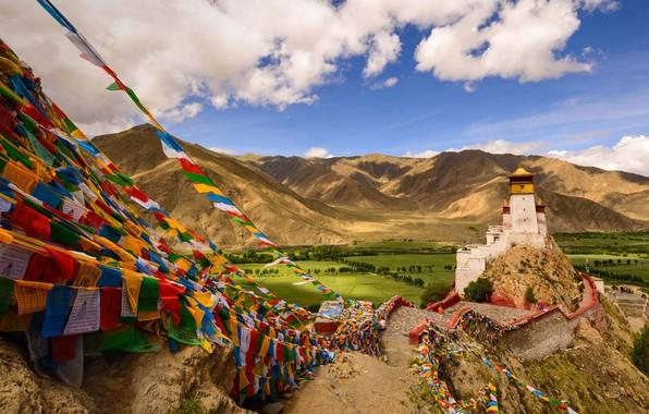 Картинка горы, башня, Китай, Тибет, дворец, Yungbulakang Palace