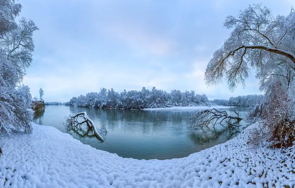 Картинка зима, снег, деревья, река, Россия, Ставропольский край, Река Терек