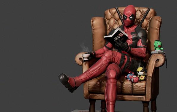Фото обои Дэдпул, Deadpool Reading, mars ..., перерыв, Уэйд Уинстон Уилсон