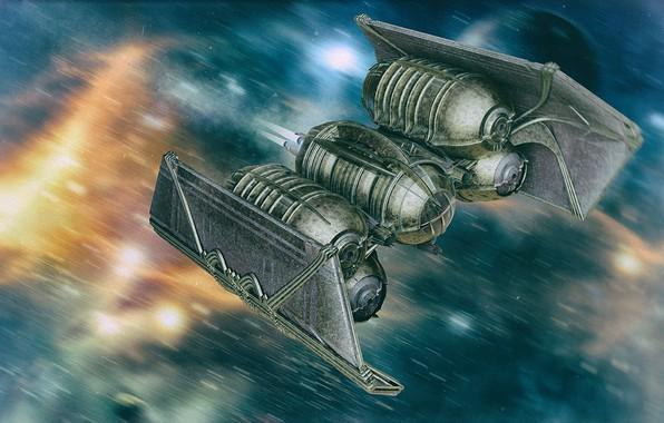 Картинка пламя, транспорт, полёт, аппарат, tie interdictor steampunk fantasy