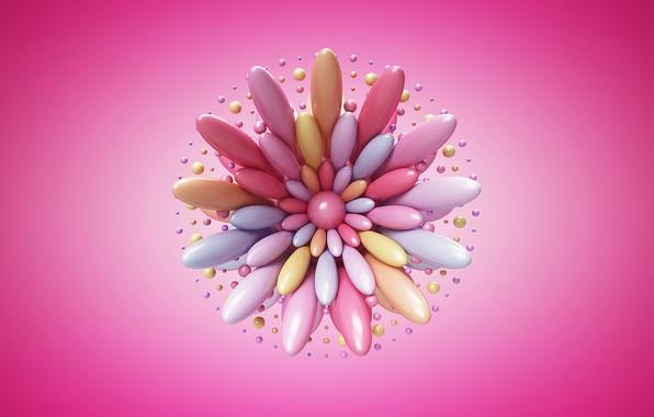 Картинка abstract, flower, art, artist, rendering, digital art, artwork, simple background, pink background, Lacza