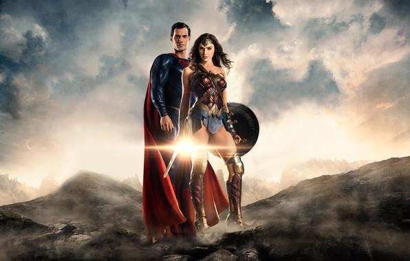 Картинка фантастика, Супермен, Wonder Woman, постер, комикс, Superman, супергерои, DC Comics, Clark Kent, Henry Cavill, Генри …