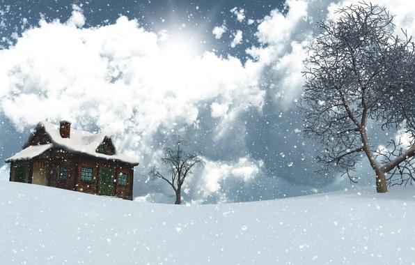 Фото обои облака, небо, солнце, дом, 3D, снежинки, деревья, зима, снег, пейзаж, графика