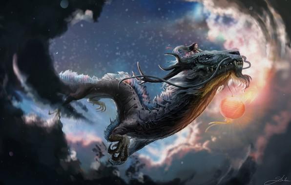 Картинка полет, дракон, девочка, когти, рога, летающий, усы борода, пасмурное небо, красный фонарь