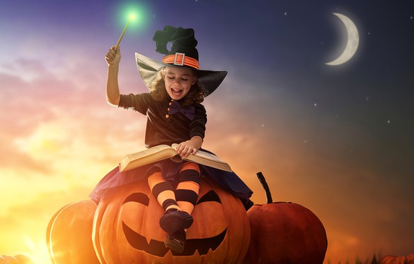 Картинка небо, магия, луна, шляпа, девочка, тыква, Хеллоуин, книга, holidays, halloween, pumpkin, little girls