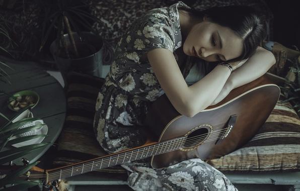 Картинка девушка, гитара, брюнетка, азиатка