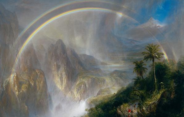 Картинка пейзаж, горы, радуга, картина, Фредерик Эдвин Чёрч, Сезон Дождей в Тропиках