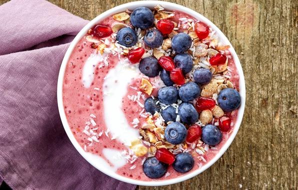 Картинка ягоды, завтрак, черника, breakfast, мюсли, йогурт