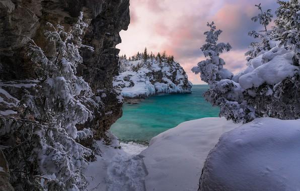Картинка зима, снег, деревья, озеро, Канада, сугробы, Онтарио, Canada, Ontario, Bruce Peninsula National Park, Национальный парк …
