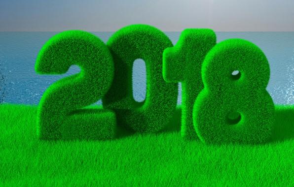 Картинка море, зелень, трава, рендеринг, новый год, рождество, горизонт, цифры, 2018